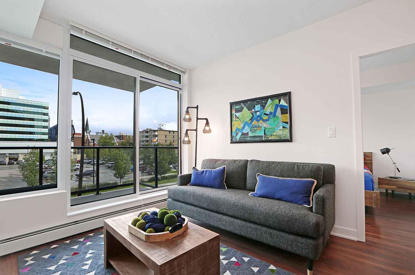 1215 Rental Apartments - One bedroom F2 Livingroom Balcony view